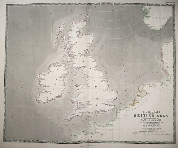 JOHNSON, A.K. - Tidal Chart of the British Seas showing the progress of the Wave of High water .