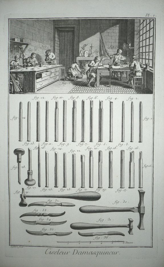 DIDEROT, D. - Complete three plate set, 'Ciseleur et Damasquineur' (Ornamental Metalwork and Damasking) from Diderot's