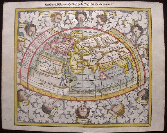 MÜNSTER, S. - Ptolemeisch General Tafel, die halbe Kugel der Welt begreissende. . .