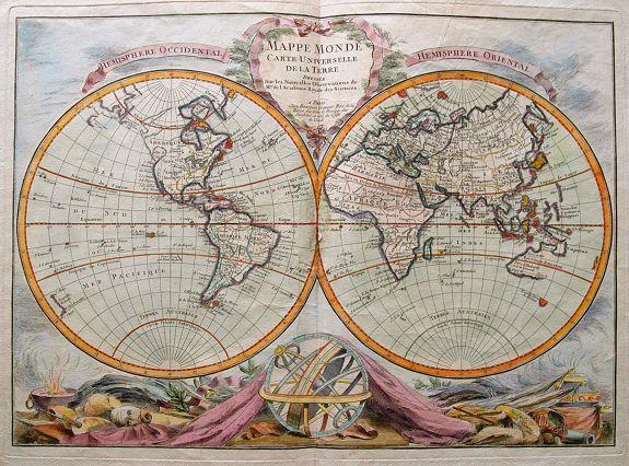BOURGOIN, P. - Mappe Monde Carte Universelle De La Terre Dressee Sure les Nouvelles Observations de Mrs. De L'Academie Royael Des Sciences.