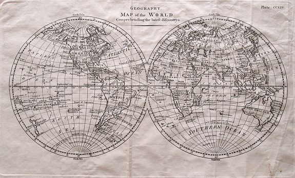BARKER, W. - Geography. Map of the World, Comprehending the latest discoveries.