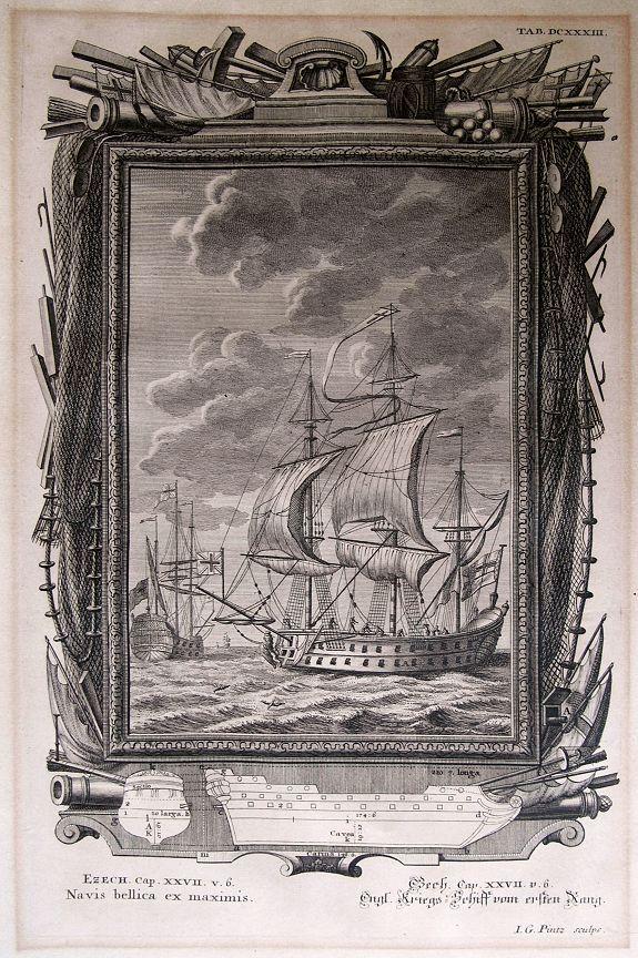 SCHEUCHZER, J. S. - Navis bellica es maximis / Engl. Kriegs=Schiff vom ersten Rang.