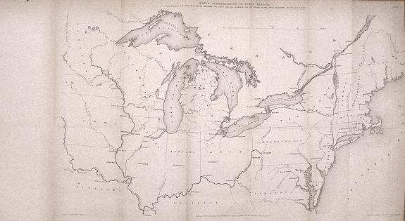 HARTLEY, Charles A. - Water Communication in North America Plan showing the navigable routes between the lakes and the seaboard and the course of the upper Mississippi and the Ohio rivers.
