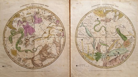 BURRITT, E., (2 charts) Northern Circumpolar Map for each Month in the Year & Southern Circumpolar Map for each Month . . ., antique map, old maps