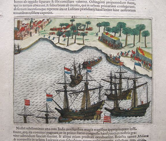 PONTANUS, J.I., Siege of Malacca., antique map, old maps