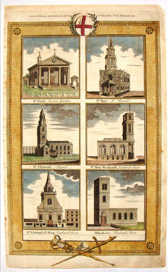 RENNOLDSON, English Cathedrals - St. Paul's, St. Mary, St. Clement's., antique map, old maps
