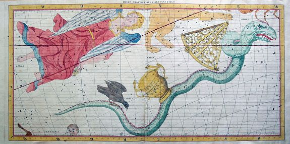 FLAMSTEED, J., Hydra Crater Corvus Sextans Virgo., antique map, old maps