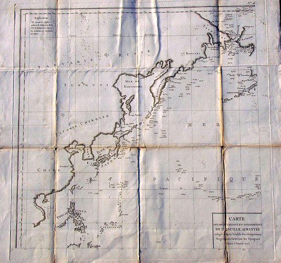 BUFFON, G. L. - Carte des Déclinaisons et Inclinaisons de L'Aiguille Aimantée..Table 4.