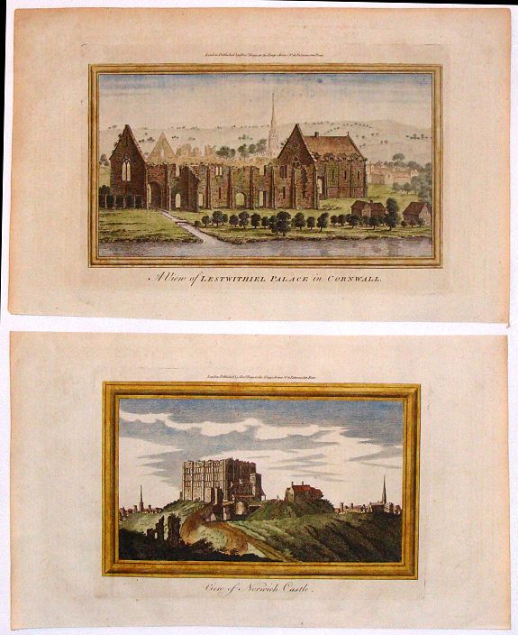 HOGG, A., Two Hand-Colored Views of the Ruins of Ancient British Castles., antique map, old maps