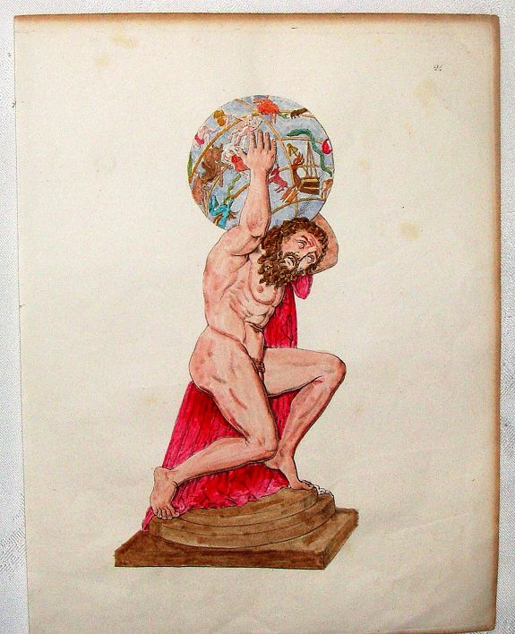 UNKOWN, Hand-Colored Copper Engraving of Atlas With World On Shoulders., antique map, old maps