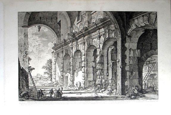 PIRANESI, Giovanni Battista. - Veduta del piano superiore del Serraglio delle fabbricato da Domiziano a uso dell' Anfiteatro Flavio, e volgarmente detto la Curia Ostilia.