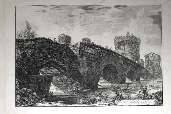 PIRANESI, Giovanni Battista. - Veduta del Ponte Lugano su l'Anione nella via Tiburtina risarcito ne' tempi bassi.