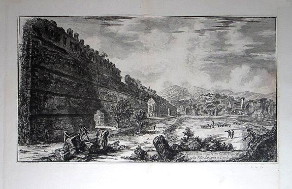PIRANESI, Giovanni Battista. - Veduta degli avanzi del Castro Pretorio nella Villa Adriana a Tivoli.