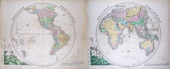 GALL & INGLIS - (Pair of 2 maps): Western Hemisphere & Eastern Hemisphere