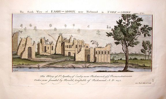 BUCK, S. & N., The South View of Easby Abbey near Richmond in York, 1721., antique map, old maps