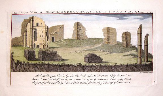 BUCK, S. & N., The South View of Knaresborough Castle in Yorkshire, 1721., antique map, old maps