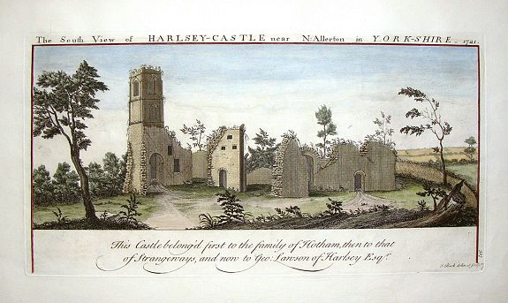BUCK, S. & N., The South View of Harlsey Castle Near N. Allerton in Yorkshire, 1721., antique map, old maps