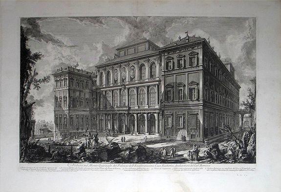 PIRANESI, Giovanni Battista. - Veduta sul Monte Quirinale del Palazzo dell' Eccellentissima Casa Barberini. Architettura del Cavr Bernino.