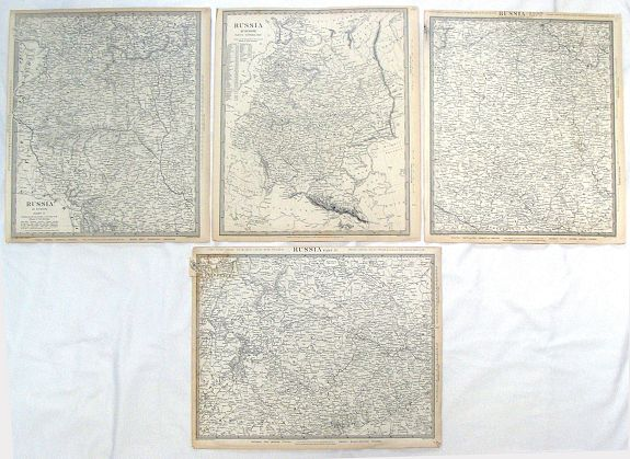 WALKER, J&C, ( 4 Large Maps ) Russia in Europe, Parts IV, V, VI & X., antique map, old maps