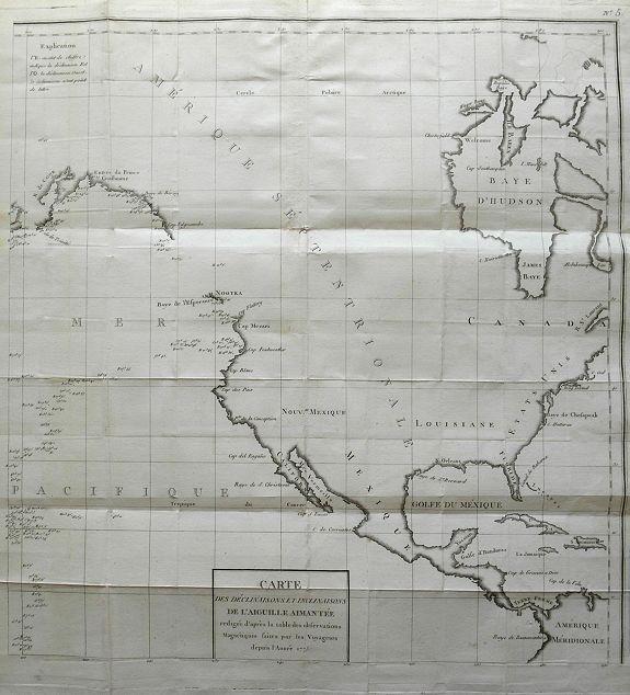 BUFFON, G. - Carte des declinaisons et inclinaisons de l'aiguille aimantée...1775.