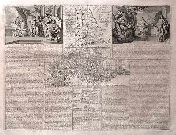 CHATELAIN, H. - Nouvelle Carte du Gouvernement Civil, d'Angleterre et de celuy de la Ville de Londres.