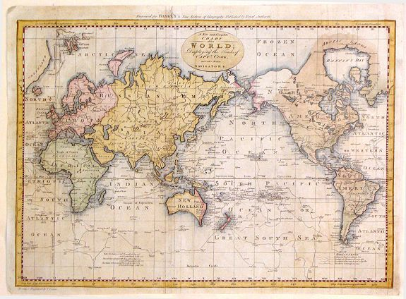 BOWEN, T. - A New and Complete Chart of the World; Displaying the Tracks of Captain Cook adn Other Modern Navigators.
