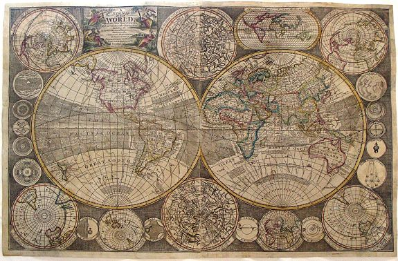 THOMPSON, G. - A New Map of the World with all the New Discoveries, By Captain Cook & other Navigators Includes the Trade Winds, Monsoons and Variations of the Compass. . .