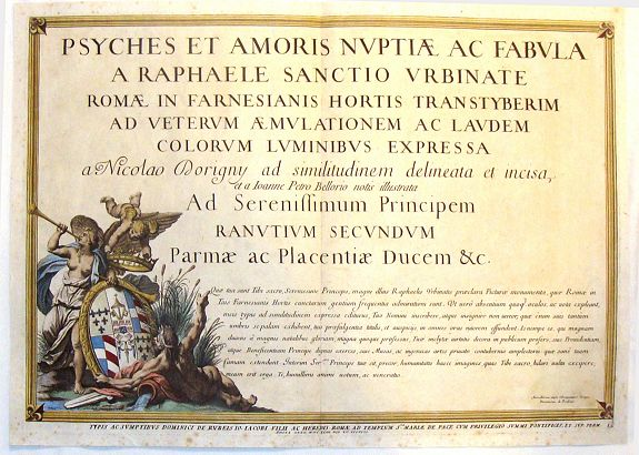 DORIGNY, N., Psyches et Amoris nuptiae ac fabula a Raphaele  (Title Page), antique map, old maps