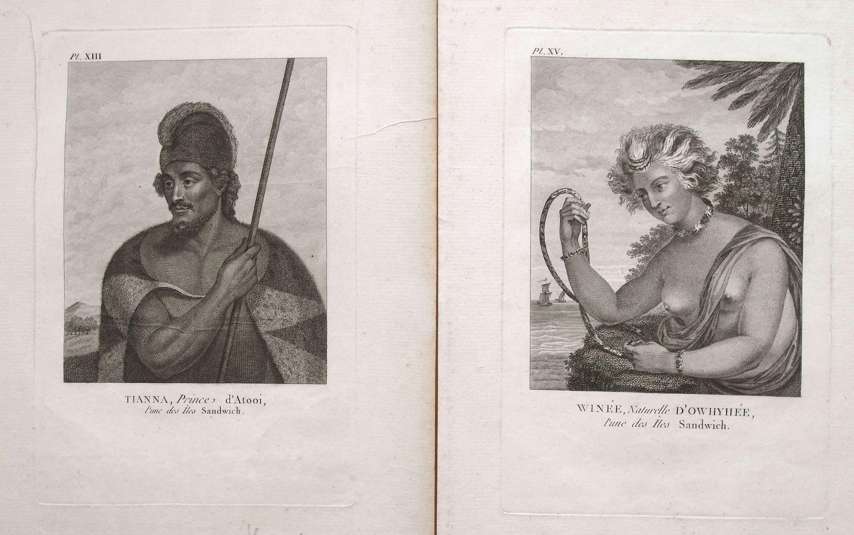 MEARES, J. - Pair of 2 prints: Winée, naturelle D'Owhyée; Tianna, Prince d'Atooi.