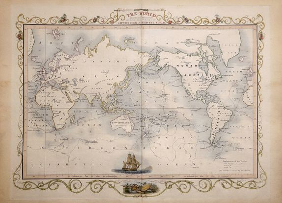 TALLIS, John - The World on Mercators Projection Shewing the Voyages of Captain Cook Round the World.