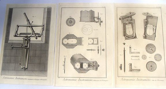 DIDEROT, D., Three Copper Engravings by DIDEROT Featuring Asronomical Instruments (Heliometer & Micrometer), antique map, old maps
