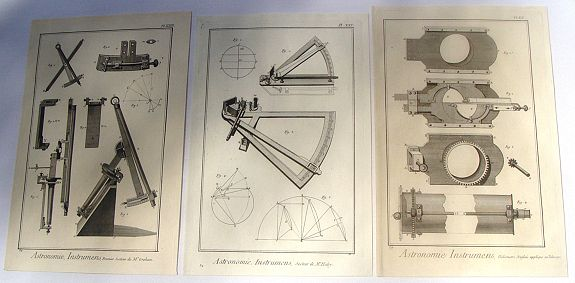 DIDEROT, D., Three Copper Engraved Diderot Astronomical Instruments (Secteur & Heliometer)., antique map, old maps