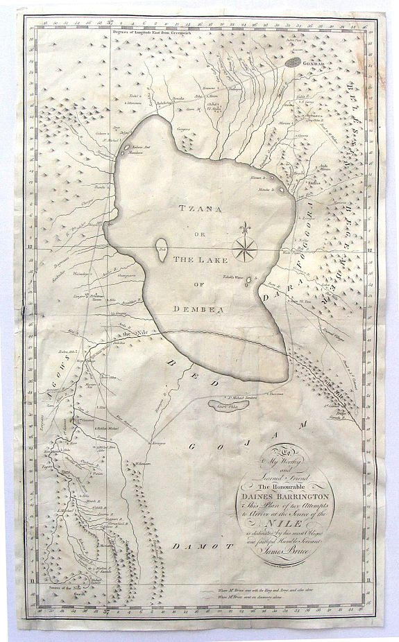 BRUCE, J. - To My Worthy and Learned Friend the Honourable Daines Barrington This Plan of two Attempts to Arrive at the Source of the Nile is dedicated by his most Obliged and faithful Humble Servant James Bruce.