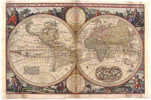 VISSCHER, N. - Orbis Terrarum Typus De Integro In Plurimis Emendatus Auctus et Icunculis Illustratus.