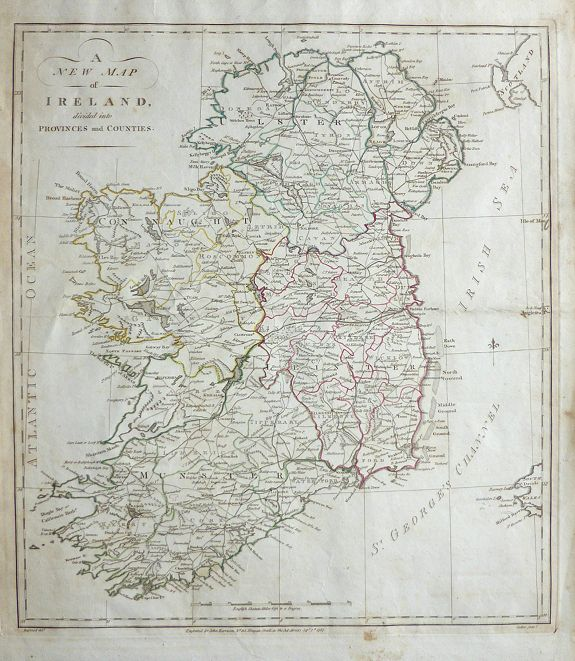 HARRISON, John - A New Map of Ireland divided into Provinces and Counties.