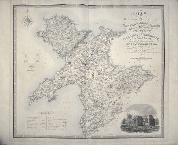 GREENWOOD, Christopher and John -  Map of the North West Circuit of the Principality of Wales, comprising the Counties of from Actual Survey made in the Years 1830 & 1831 By C & J Greenwood Published by the Proprietors Greenwood & Co London Corrected to the present period and Published Ap