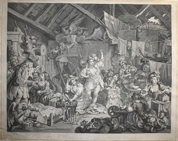 William Hogarth  - Strolling Actresses Dressing in a Barn.