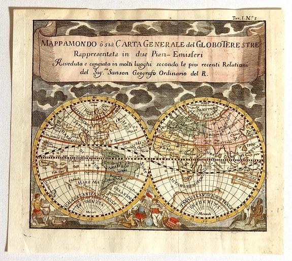 SANSON, N. / AFFERDEN, Francisco de - MappaMondo o sia Carta Generale del Globo Terestre Rappresentata in due Pian§Emisferi. . .