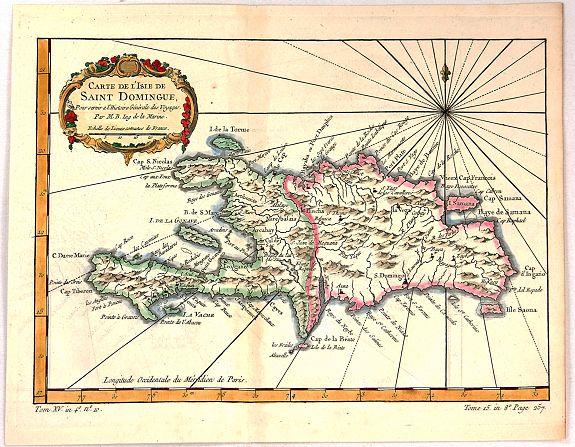 Old map by BELLIN -Carte de L'Isle de Saint Dominique. Dominique Map on