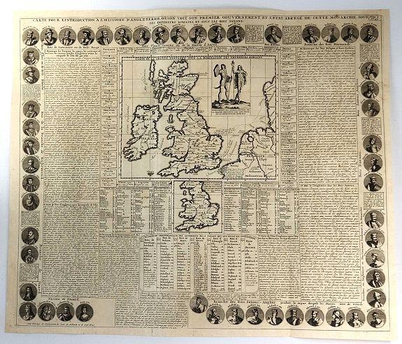 CHATELAIN, H. - Carte Pour l'Introduction a l'Histoire d'Angleterre, ou l'on Voit son Premier Gouvernement, et l'Etat Abrege de cette Monarchie sous les Empereurs Romains, et sous les Rois Saxons...