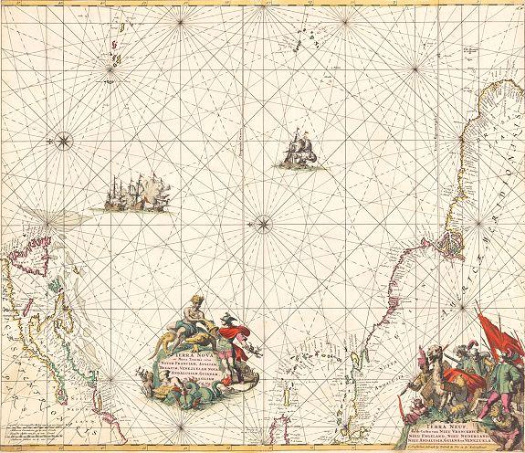 DE WIT, F. - Terra Nova, ac Maris Tractus circa Novam Franciam, Angliam, Belgium, Venezuelam Novam Andalusiam, Guianam et Brasiliam...