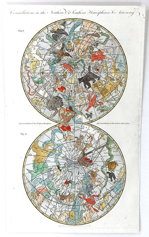COOKE, C.,, Constellations in the Northern & Southern Hemispheres, antique map, old maps