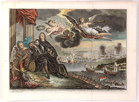 TIRION, I. - Aftekening der Schilderye, op't Stadhuis te Dordrecht geplaatst, ter gedagtenisse van de Overwinning by Chattam, in't Jaar 1667, onder't beleid van Kornelis de Wit, Ruwaard van Putten