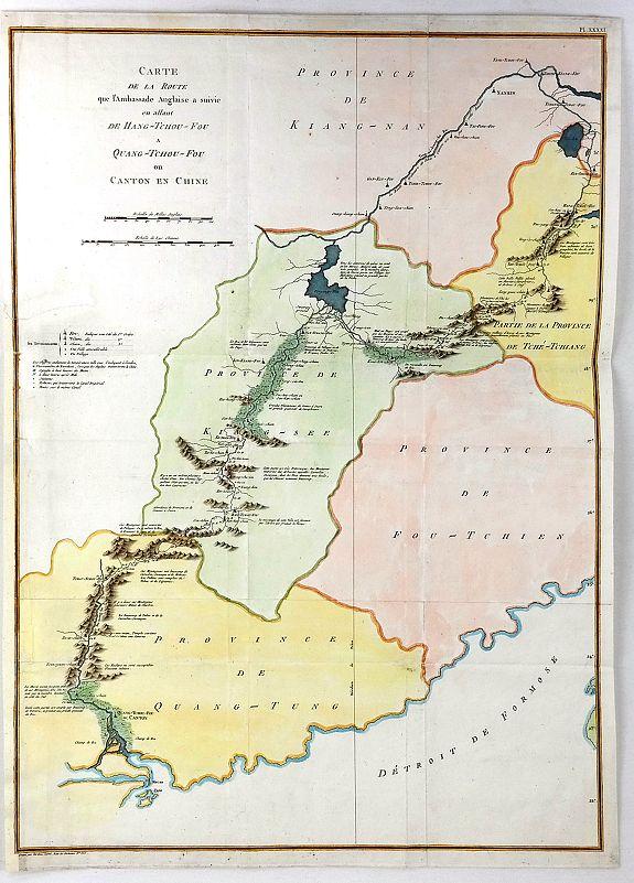 TARDIEU. - Carte de la Route que l'ambassade Anglais a Suive en Allant de Hang-Tchou-fou a Qhang-Tchou-Fou ou canton en Chine
