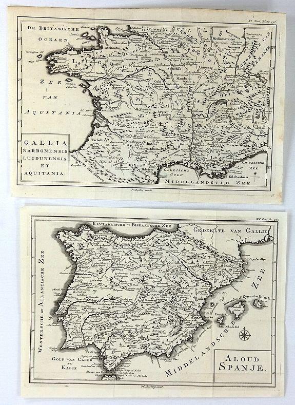 BESSELING, H. - (2 Maps) Aloud Spanje & Gallia Narbonensis Lugdunensis et Aquitania