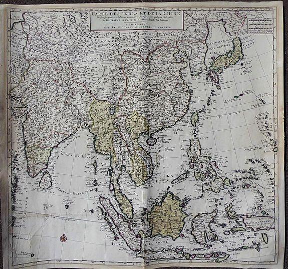 DE L'ISLE / COVENS, J. / MORTIER, C. - Carte des Indes et de la Chine Dressée. . .