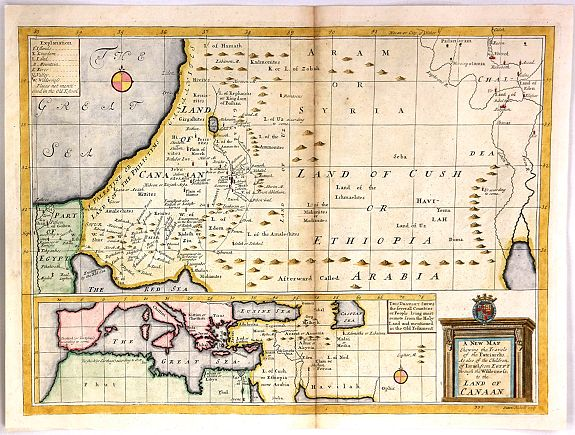 WELLS, E., A New Map Shewing the travels of the Patriarchs, antique map, old maps