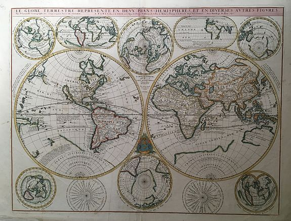 CORONELLI, V.M. / NOLIN, J.B. - Le Globe Terrestre Represente en Deux Plans-Hemispheres, et en Diverses autres Figures..