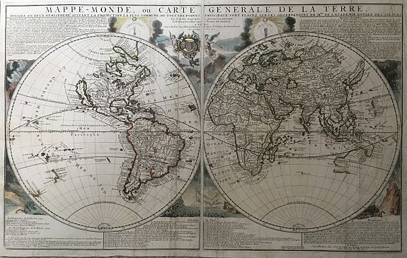 DEFER, Nicoles.  - Mappe-Monde, ou Carte Generale de la Terre, Divisee en Deux Hemispheres Suivant la Projection la Plus Commune ou Tous les Points Principaux sont Placez sur les Observations de Mrs. de l'Academie Royale des Siences