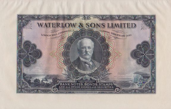 Waterlow & Sons Ltd. , Banknotes - Share certificates Printers samples , antique map, old maps